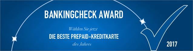 BankingCheck Award 2017 - Prepaid Kreditkarte