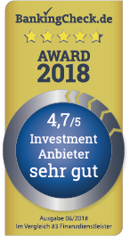 BankingCheck Award 2018 Testsiegel - Investment Anbieter