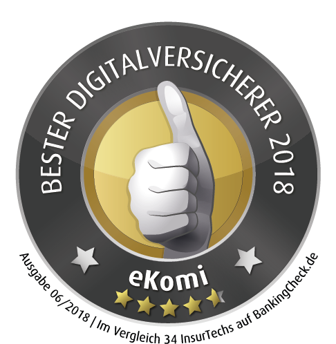 eKomi Award 2018 Testsiegel - Digitalversicherer